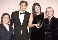 The NatCen team collects its prizes from Susan Calman (left)